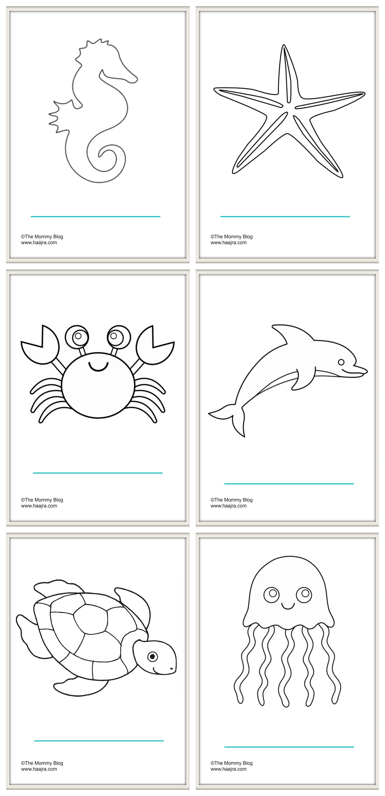 sea animals - preschool colouring pages printable free