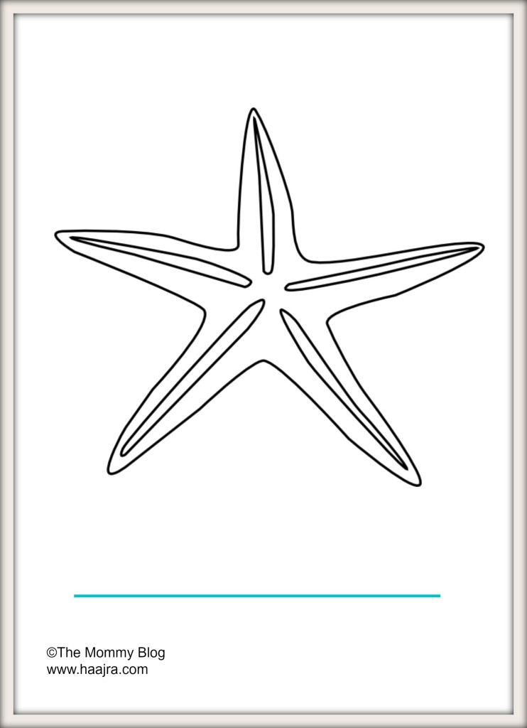 sea animals - star fish preschool colouring pages printable