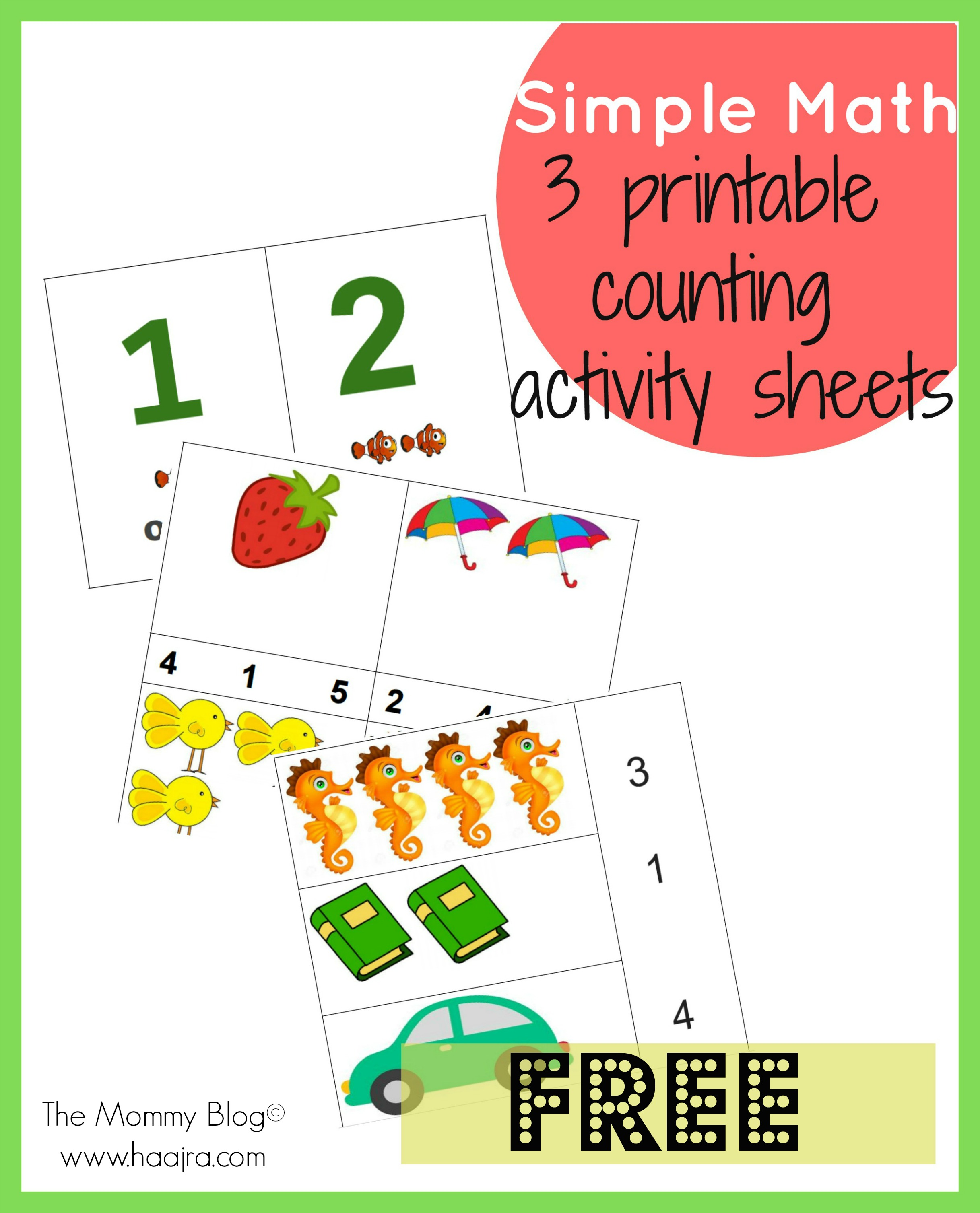 simple math counting activity sheets by The Mommy Blog