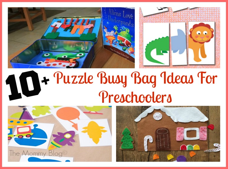 easy puzzle busy bag ideas for preschoolers toddlers