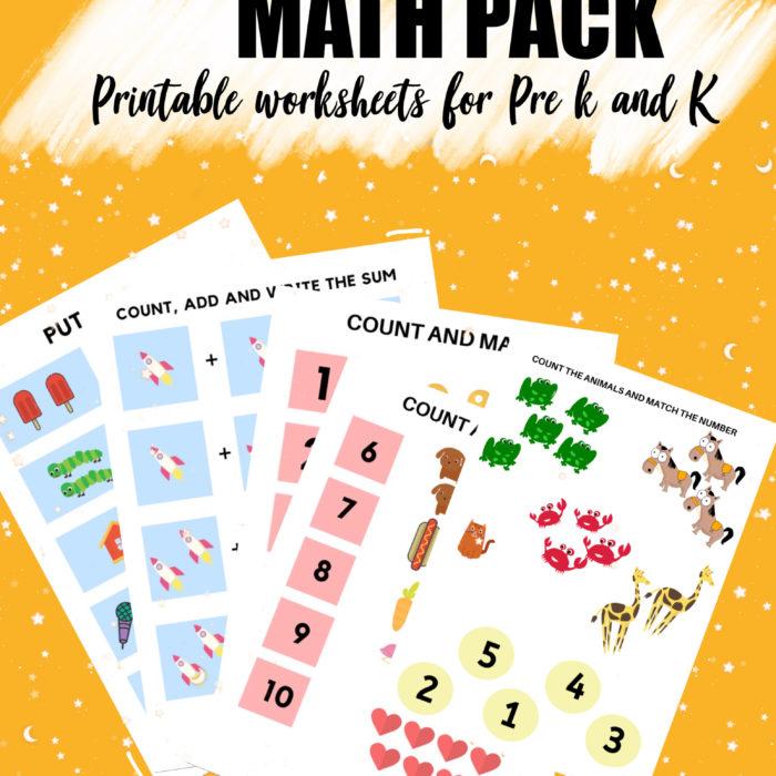 Math Pack – Free Worksheets for Pre-k and K | Digital worksheets