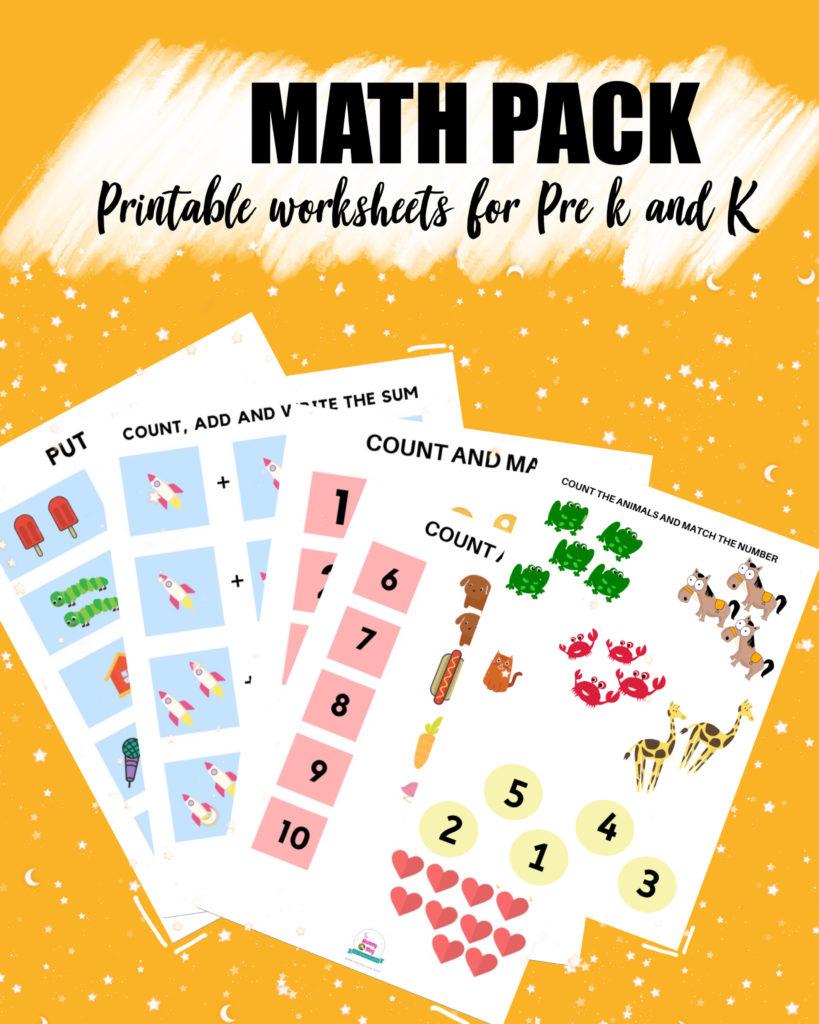 Free math worksheet for preschool and kindergarten